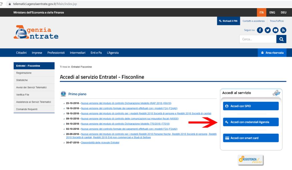 accesso servizio entratel fisconline per pagamento f24 web