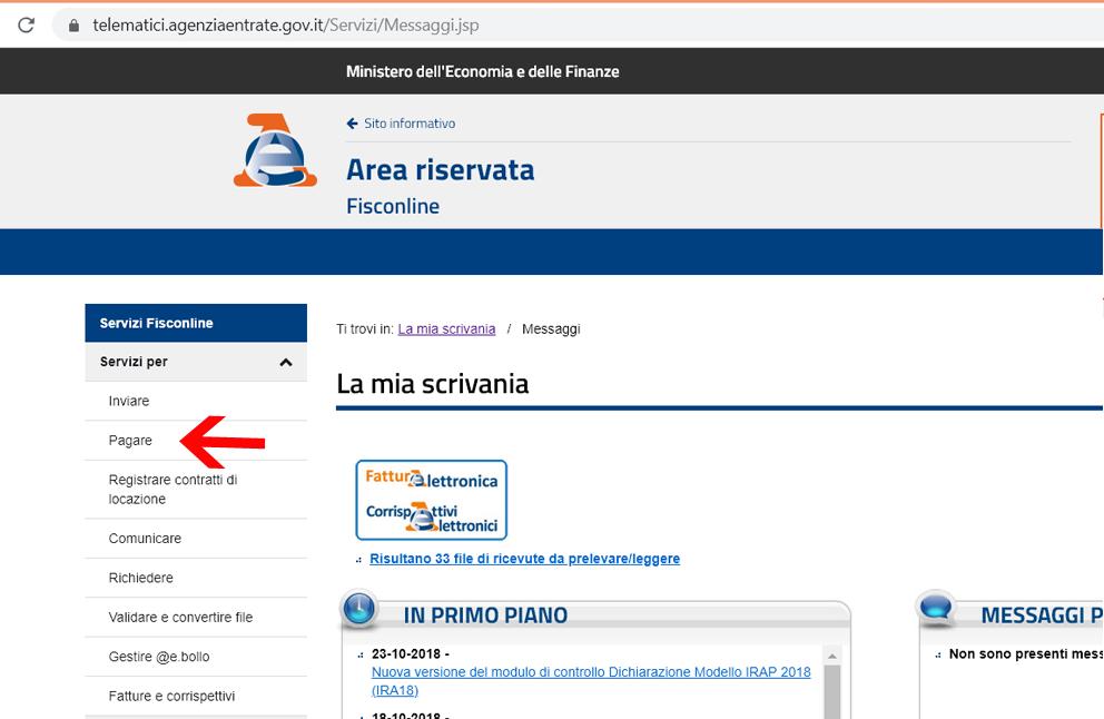 pagare f24web con fisconline dal sito agenzia delle entrate
