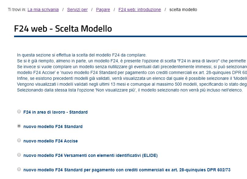 scegli modello f24 da compilare