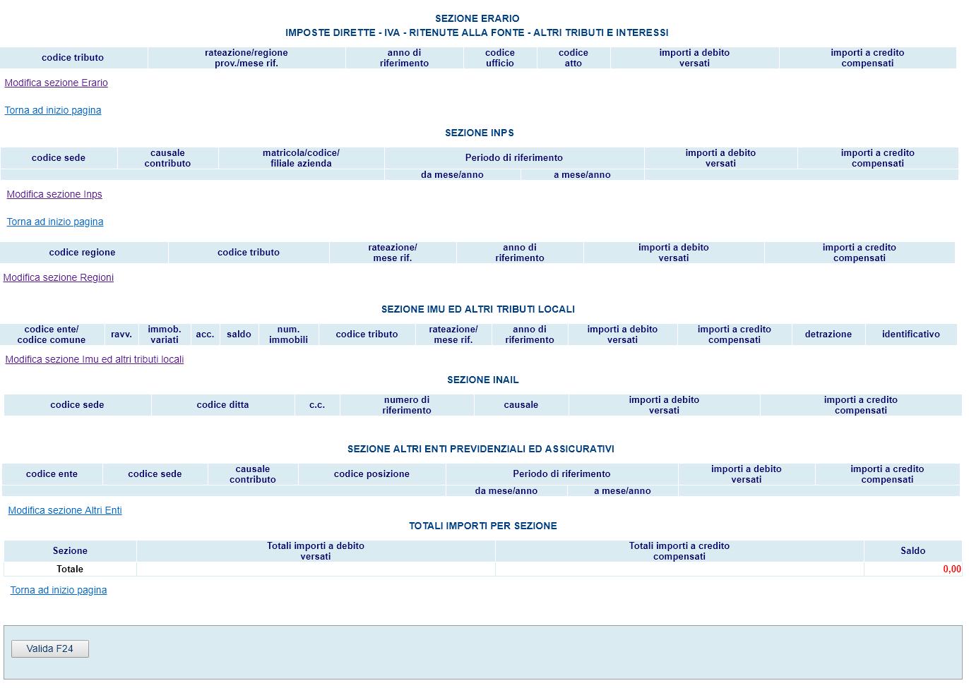 sezioni da compilare f24 web