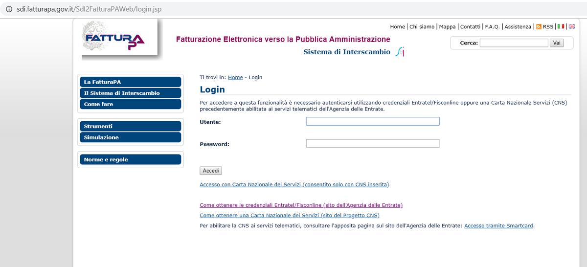 fattura elettronica PA accesso Sistema di Interscambio