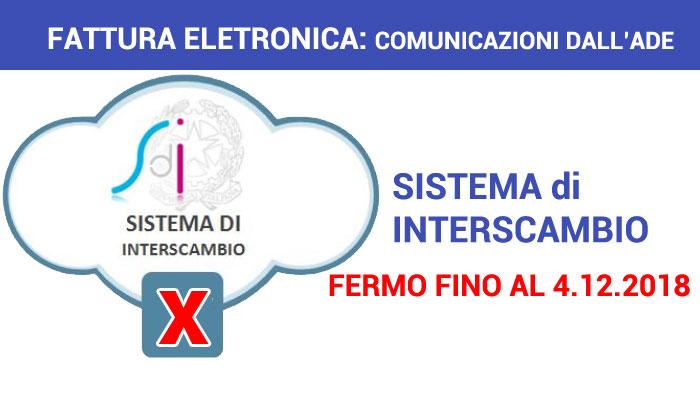 fattura elettronica sistema di interscambio fermo fino al 4 dicembre 2018