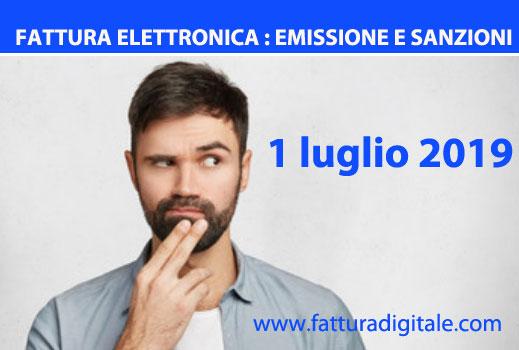 fattura elettronica data di emissione e sanzioni dal 1 luglio 2019